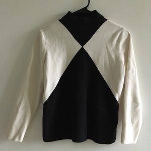 Black and white mock neck sweater
